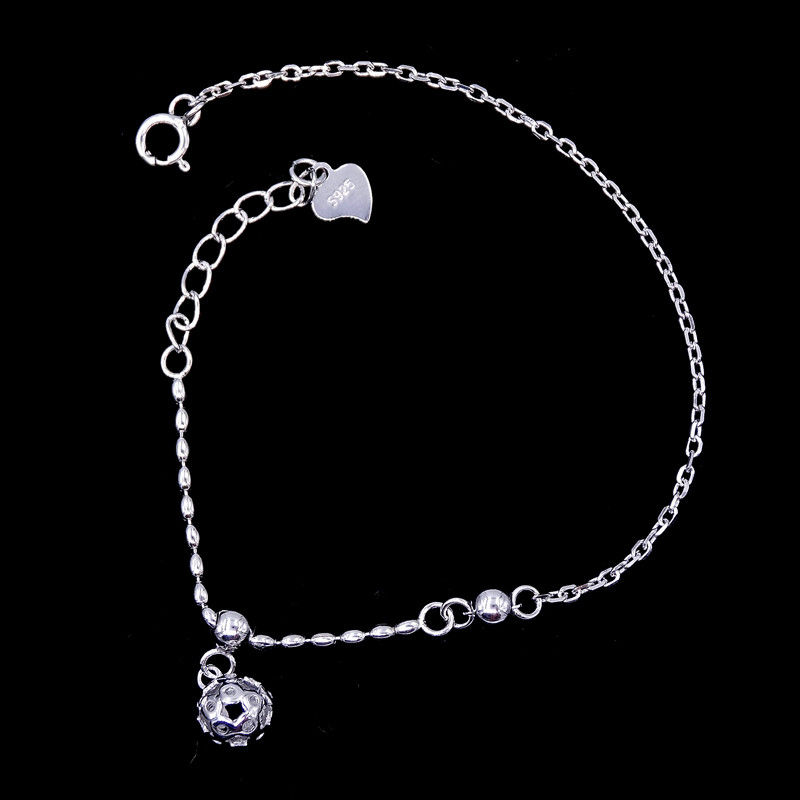 Central Ball Shape Plain Sterling Silver Bracelet Elegant Plating Rhodium