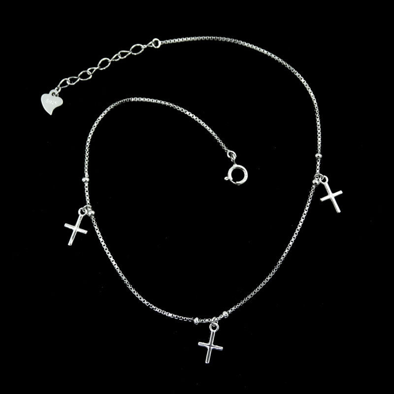 Cross Shape Plain Silver Bracelet / Simple Design Silver Rope Bracelet