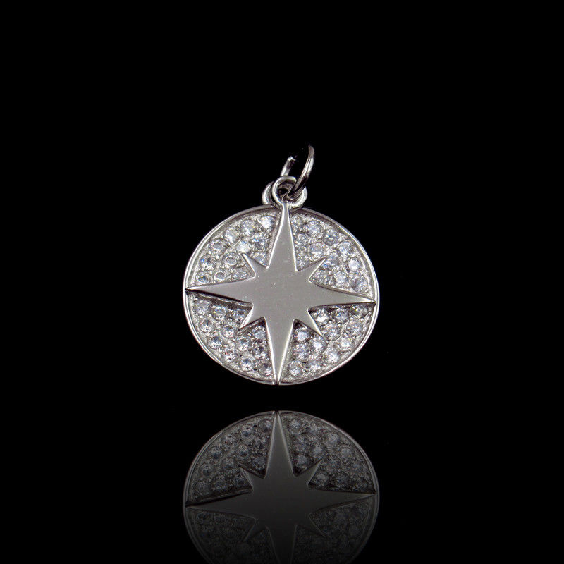 CZ Sterling Silver Round Pendant , Pendant 925 Collections Jewelry